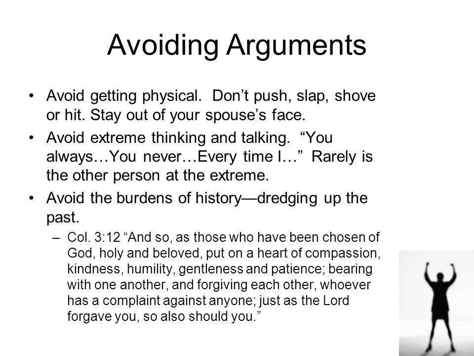 "21 Avoiding Arguments Consider your words before speaking –""The heart of the righteous ponders how to answer. But the mouth of the wicked pours out ev"