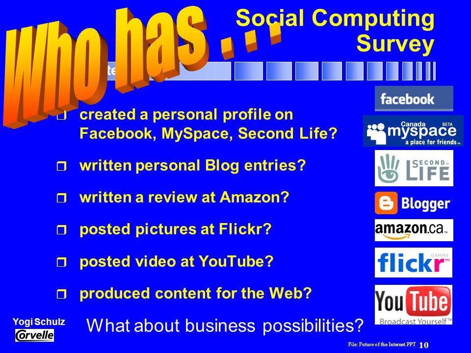File: Future of the Internet.PPT 10 Yogi Schulz Future of the Internet Social Computing Survey r created a personal profile on Facebook, MySpace, Seco