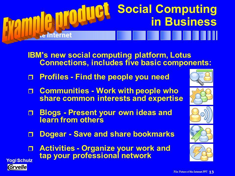 File: Future of the Internet.PPT 13 Yogi Schulz Future of the Internet Social Computing in Business IBM's new social computing platform, Lotus Connect