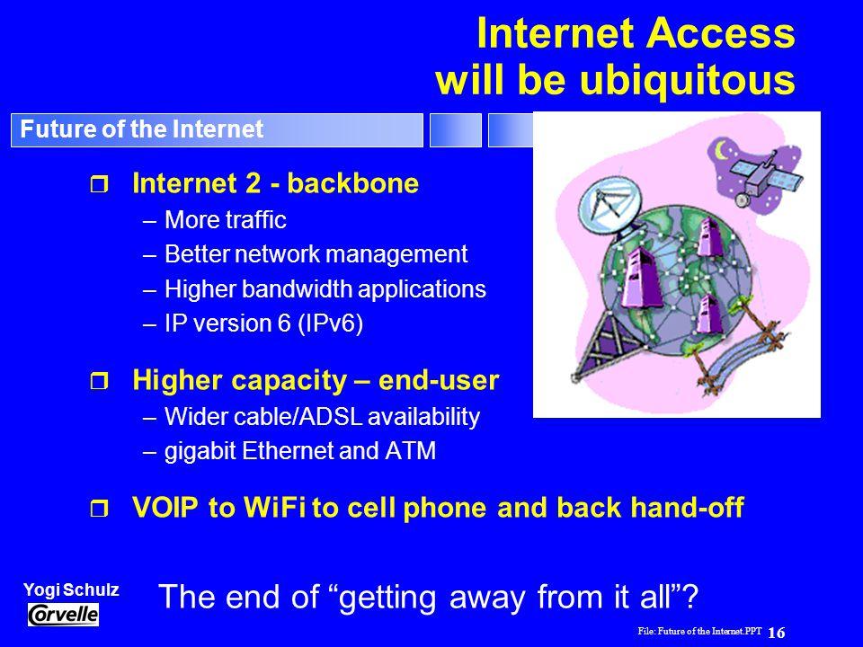 File: Future of the Internet.PPT 16 Yogi Schulz Future of the Internet Internet Access will be ubiquitous r Internet 2 - backbone –More traffic –Bette
