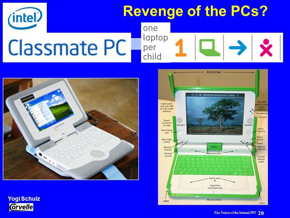 File: Future of the Internet.PPT 20 Yogi Schulz Future of the Internet Revenge of the PCs?