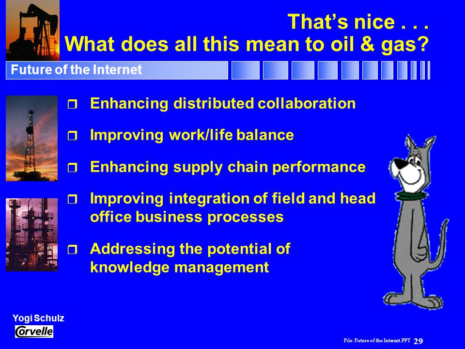 File: Future of the Internet.PPT 29 Yogi Schulz Future of the Internet That's nice... What does all this mean to oil & gas? r Enhancing distributed co