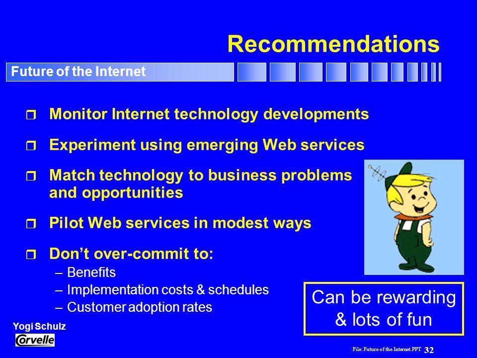 File: Future of the Internet.PPT 32 Yogi Schulz Future of the Internet Recommendations r Monitor Internet technology developments r Experiment using e