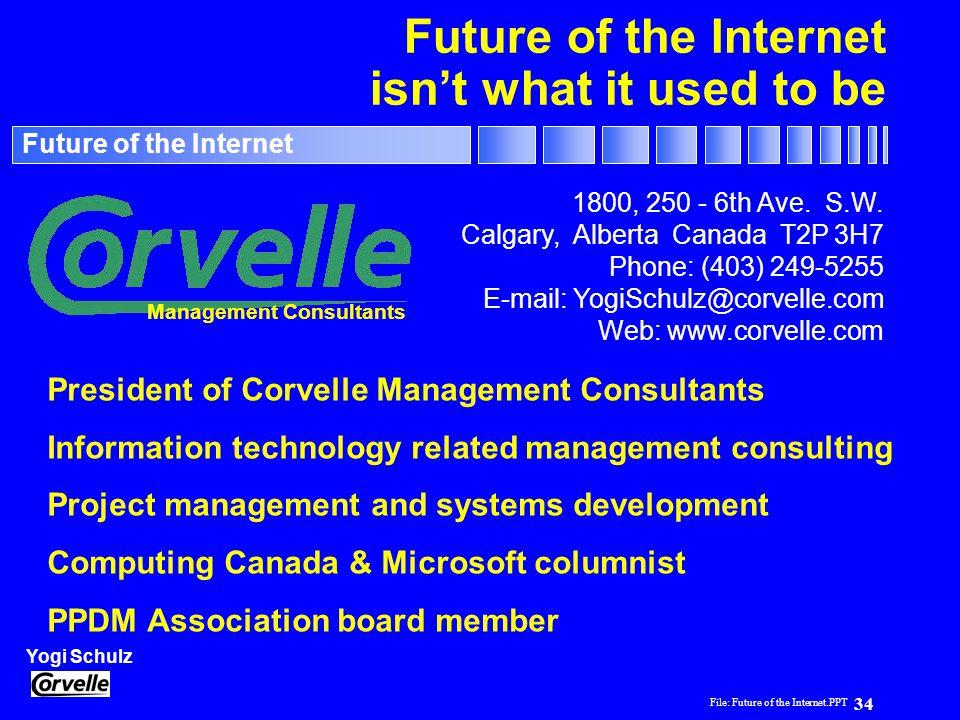 File: Future of the Internet.PPT 34 Yogi Schulz Future of the Internet 1800, 250 - 6th Ave. S.W. Calgary, Alberta Canada T2P 3H7 Phone: (403) 249-5255
