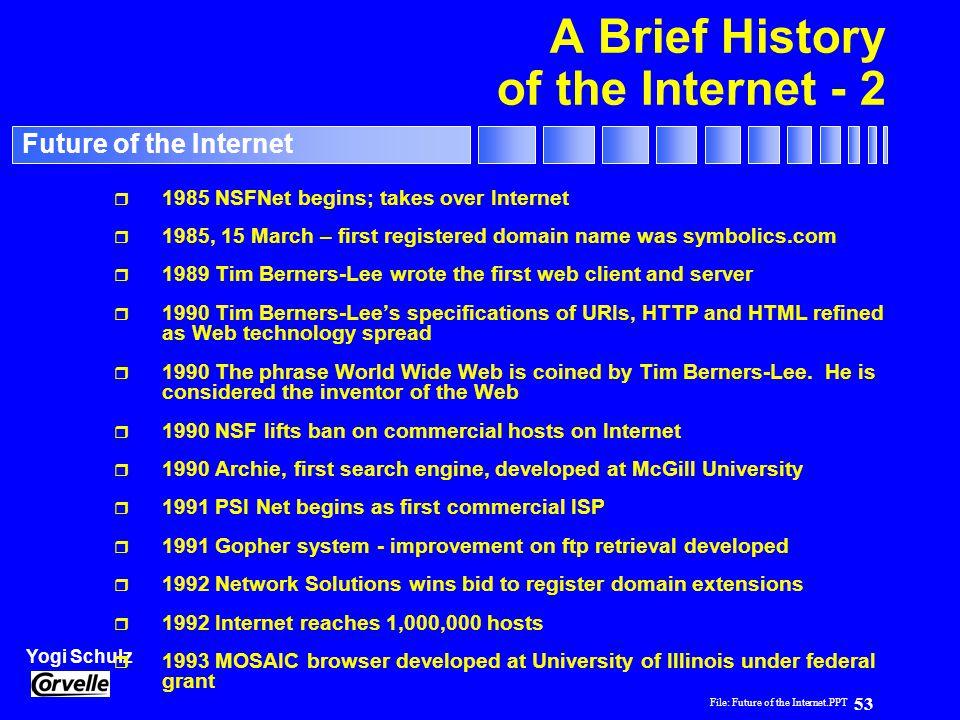 File: Future of the Internet.PPT 53 Yogi Schulz Future of the Internet A Brief History of the Internet - 2 r 1985 NSFNet begins; takes over Internet r