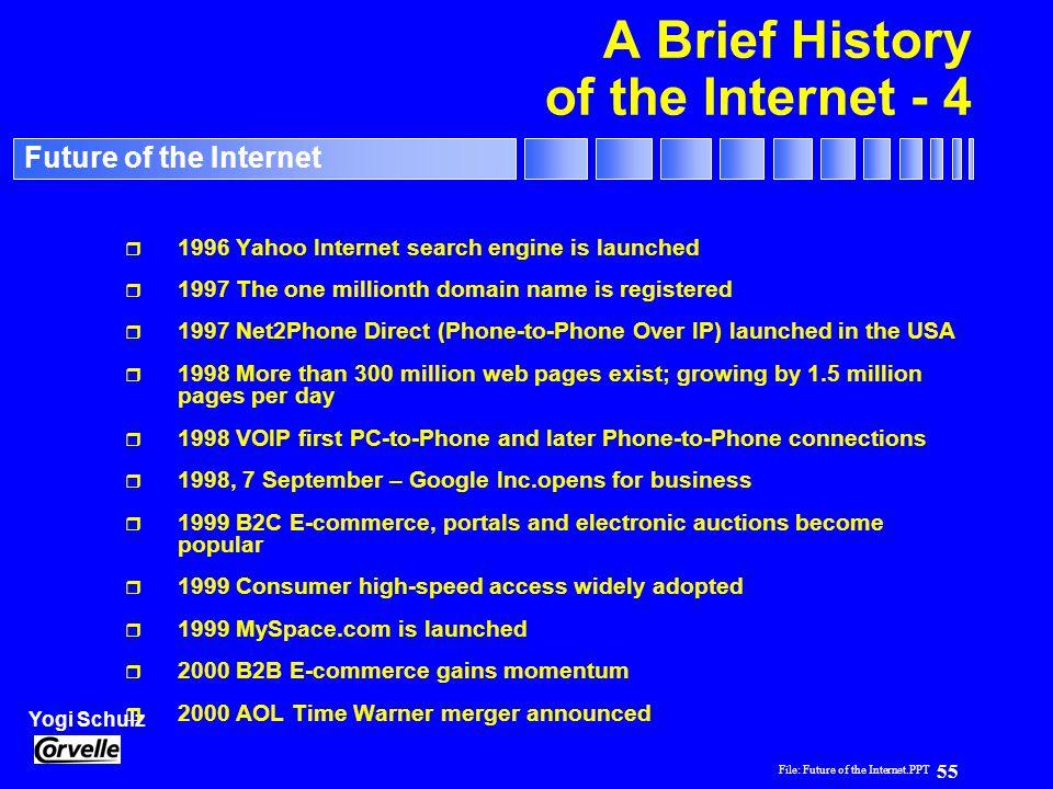 File: Future of the Internet.PPT 55 Yogi Schulz Future of the Internet A Brief History of the Internet - 4 r 1996 Yahoo Internet search engine is laun