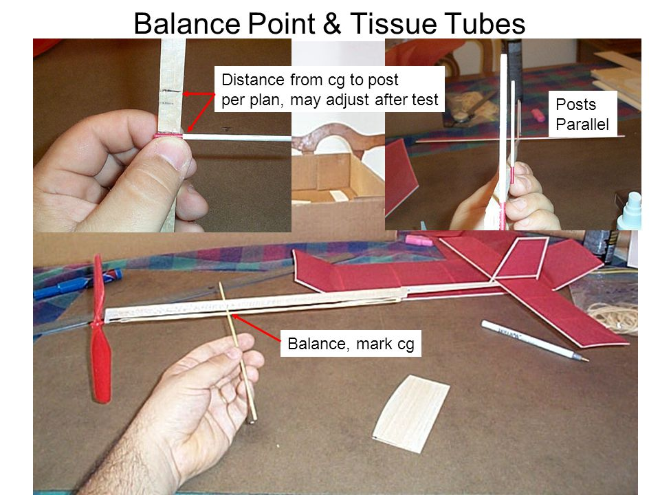 Balance Point & Tissue Tubes Distance from cg to post per plan, may adjust after test Posts Parallel Balance, mark cg