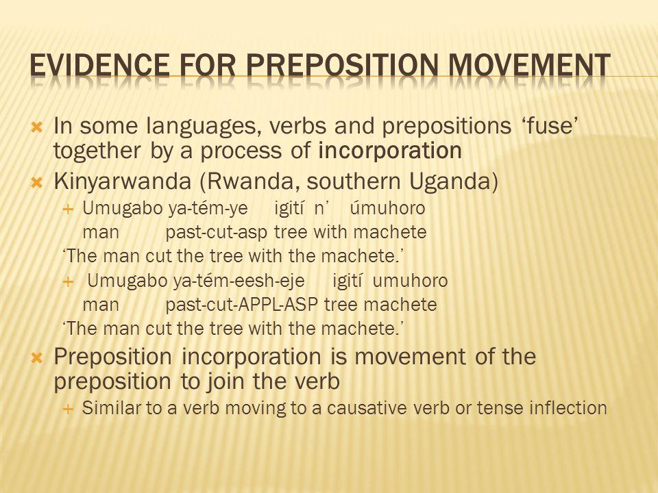  In some languages, verbs and prepositions 'fuse' together by a process of incorporation  Kinyarwanda (Rwanda, southern Uganda)  Umugabo ya-tém-ye