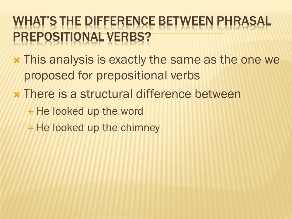  This analysis is exactly the same as the one we proposed for prepositional verbs  There is a structural difference between  He looked up the word
