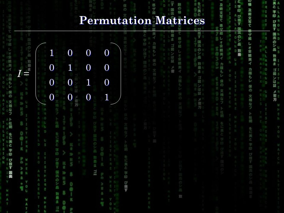 Permutation Matrices I =