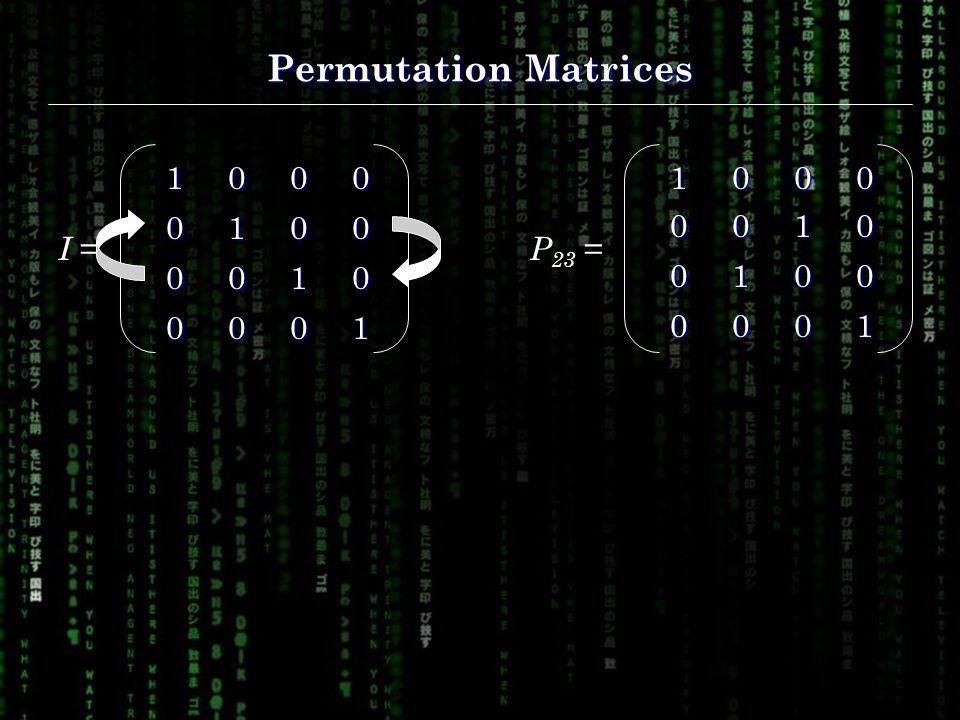 Permutation Matrices I = P 23 =