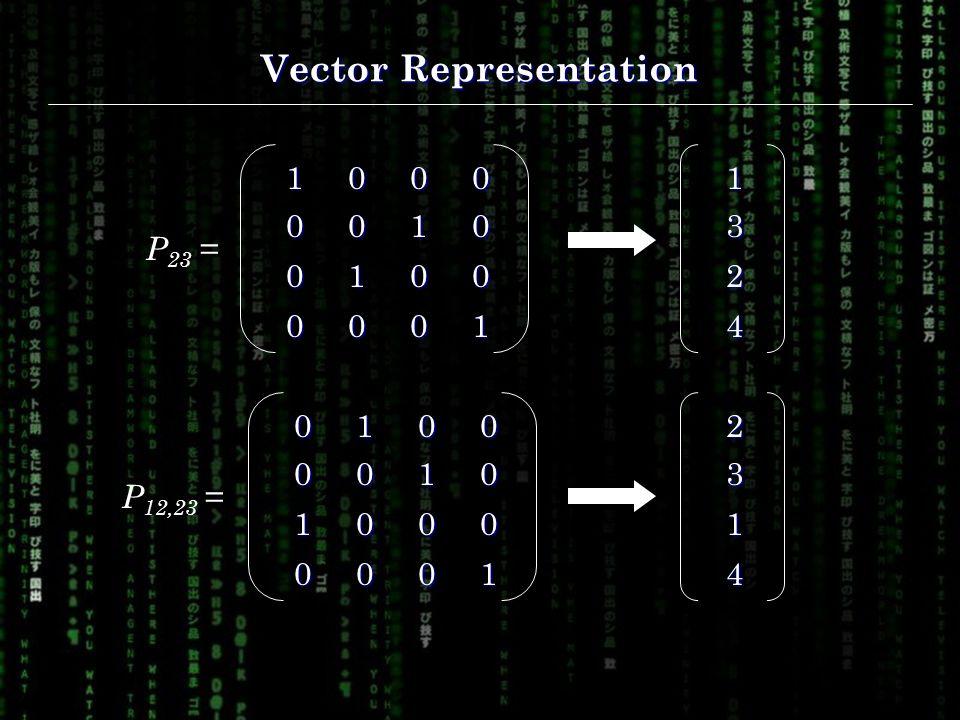 Vector Representation 1000 0010 0100 0001 P 23 =01000010 1000 0001 P 12,23 =13 2 4 23 1 4