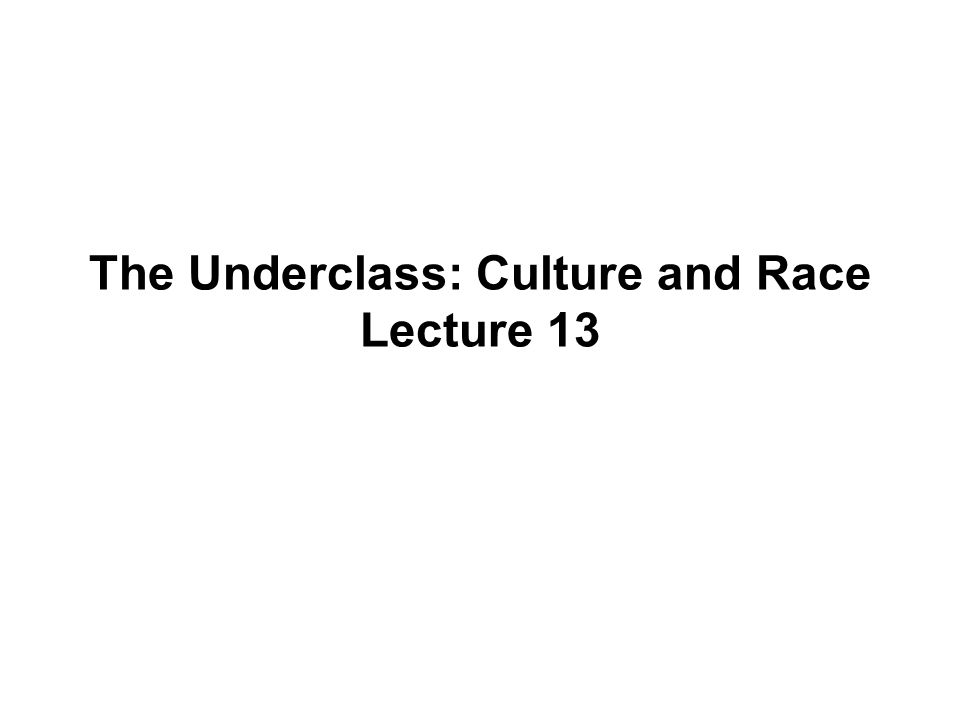 The Underclass: Culture and Race Lecture 13