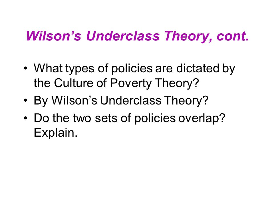 Wilson's Underclass Theory, cont. What types of policies are dictated by the Culture of Poverty Theory? By Wilson's Underclass Theory? Do the two sets