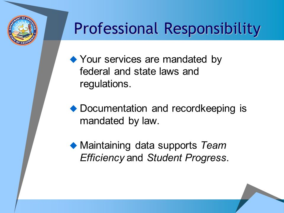 Professional Responsibility  When service providers/educators sign their contract, they are in essence agreeing to abide by specific procedures, practices and protocols dictated by the school administration.