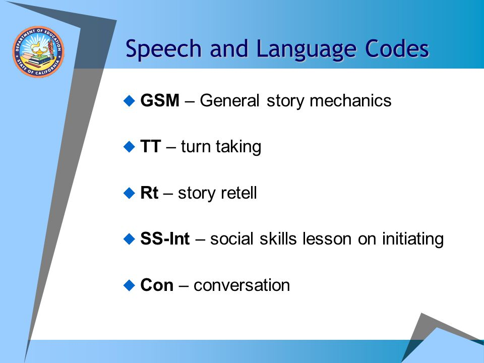 Example One example of effective coding may look like this: Sm gp-3, TT, Goal 1,3 30 mins, speech room, KWG