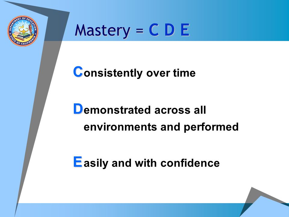 Mastery = C D E C C onsistently over time D D emonstrated across all environments and performed E E asily and with confidence