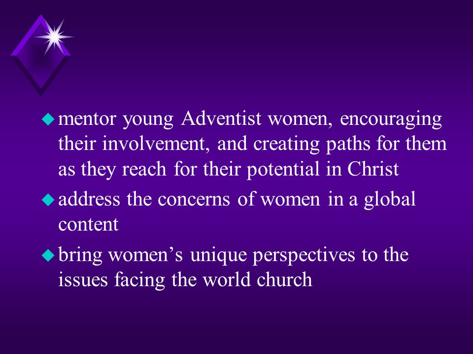 u elevate women as persons of inestimable worth because they have been created and redeemed u enable women to deepen their faith and experience spirit