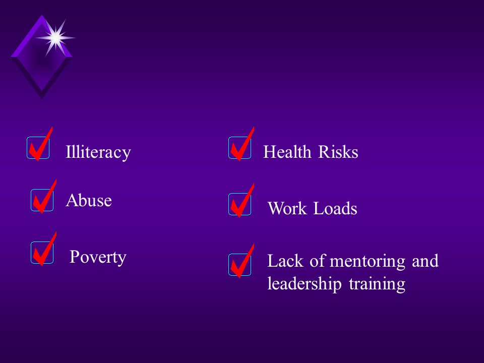 SIX CRITICAL ISSUES There are six critical issues that particularly impact women around the world. These issues are: