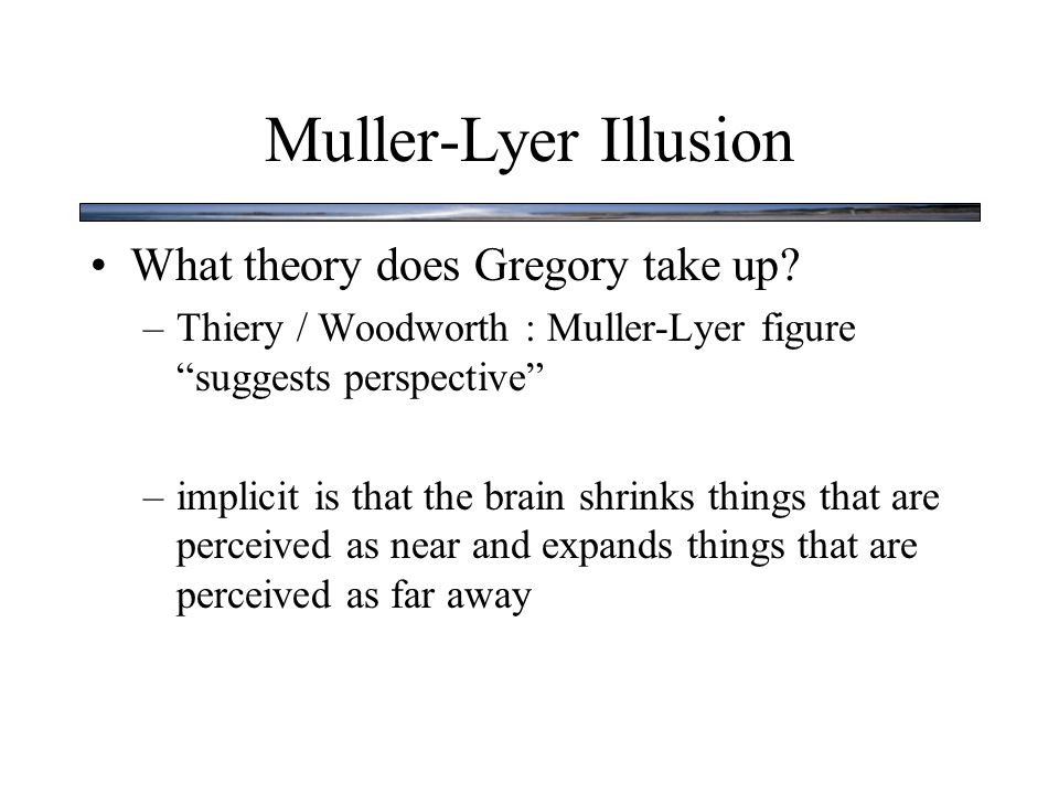Muller-Lyer Illusion What theory does Gregory take up.