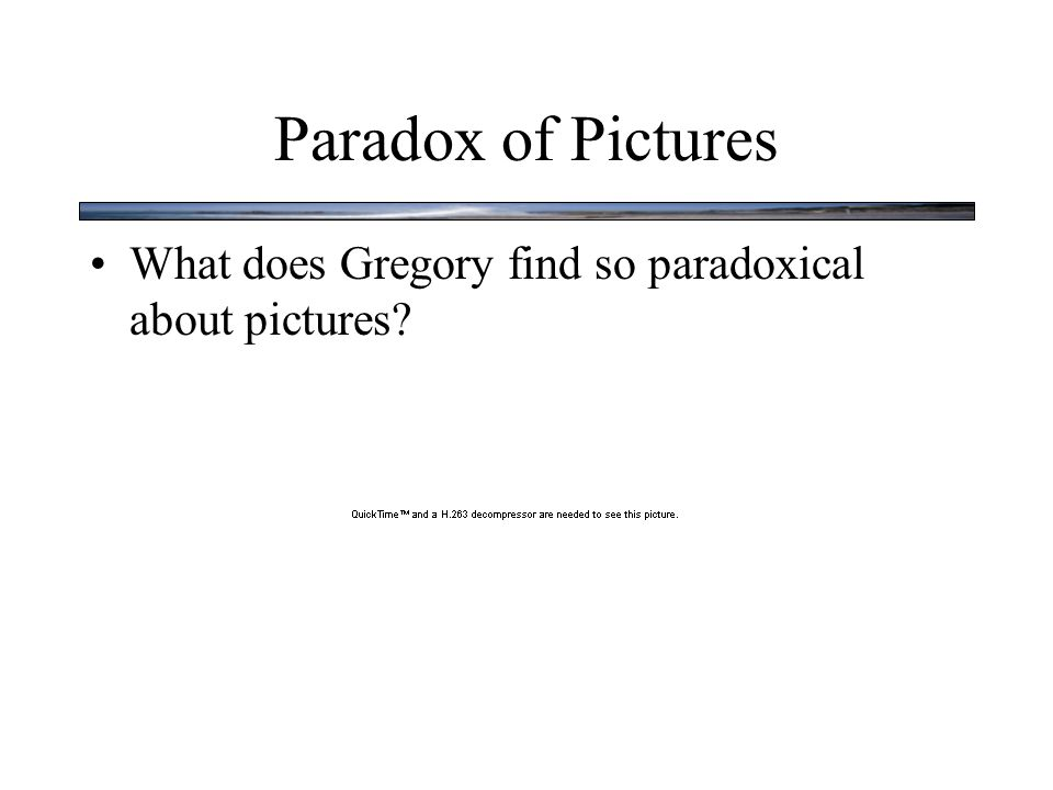Paradox of Pictures What does Gregory find so paradoxical about pictures?