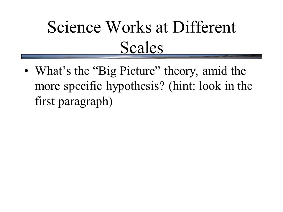 Science Works at Different Scales What's the Big Picture theory, amid the more specific hypothesis.