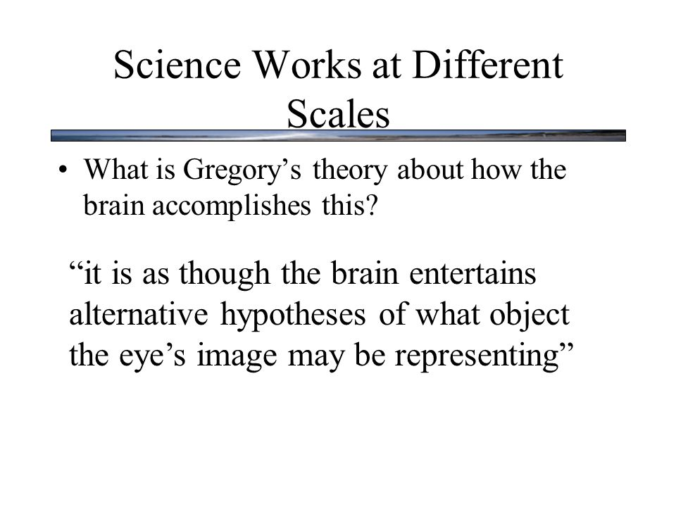 """Science Works at Different Scales What is Gregory's theory about how the brain accomplishes this? """"it is as though the brain entertains alternative hy"""