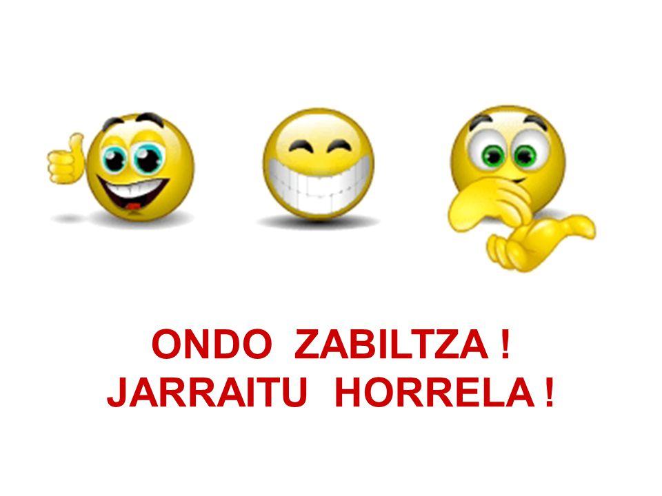 ONDO ZABILTZA ! JARRAITU HORRELA !