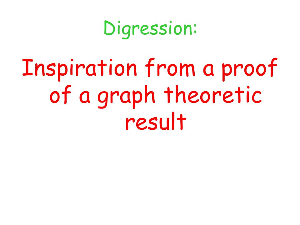 Digression: Inspiration from a proof of a graph theoretic result