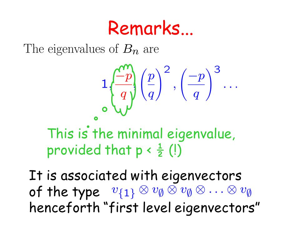 """Remarks... It is associated with eigenvectors of the type henceforth """"first level eigenvectors"""" This is the minimal eigenvalue, provided that p < ½ (!"""