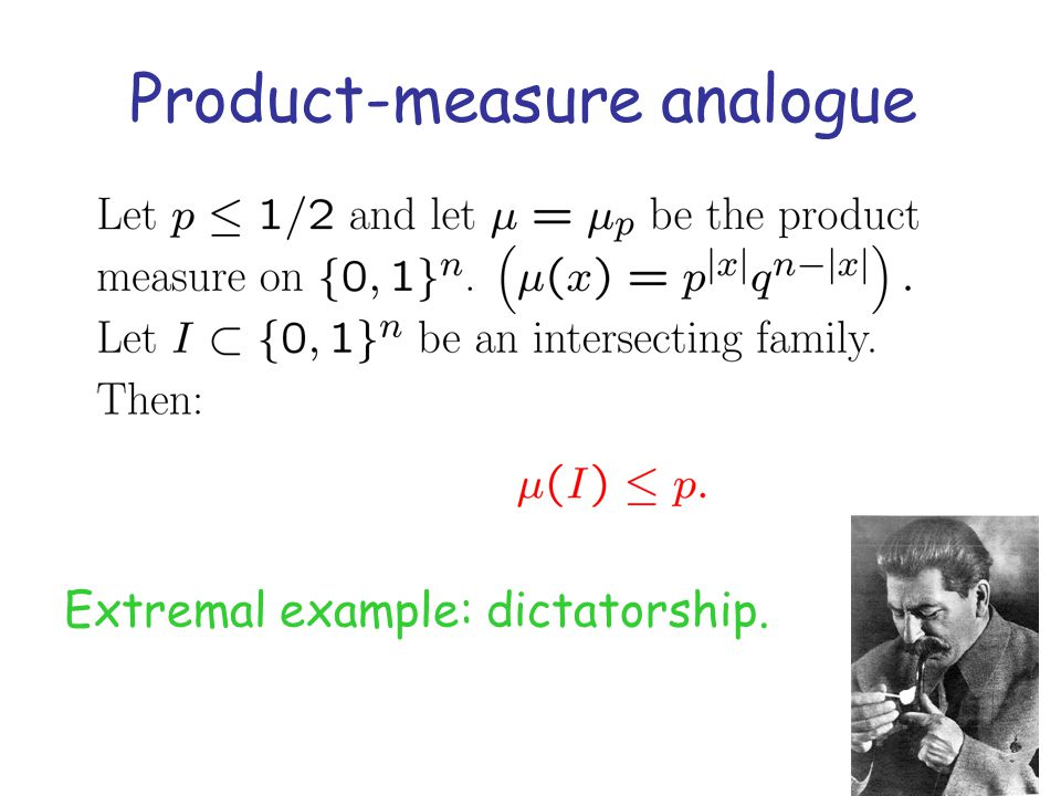 Product-measure analogue Extremal example: dictatorship.