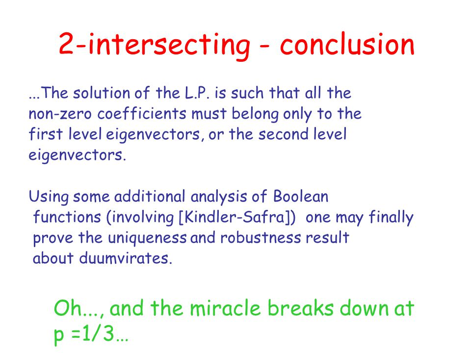 2-intersecting - conclusion...The solution of the L.P.