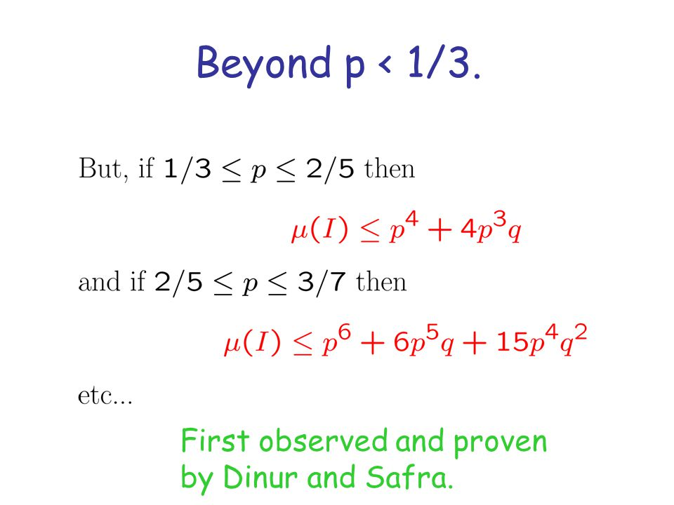 Beyond p < 1/3. First observed and proven by Dinur and Safra.