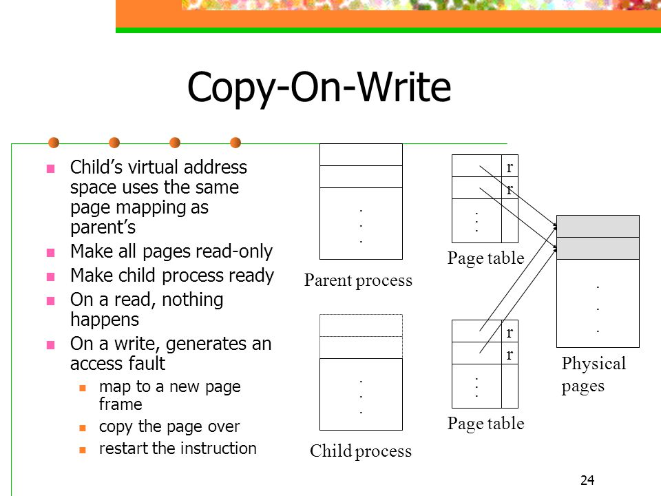 24........................ Copy-On-Write Child's virtual address space uses the same page mapping as parent's Make all pages read-only Make child proc