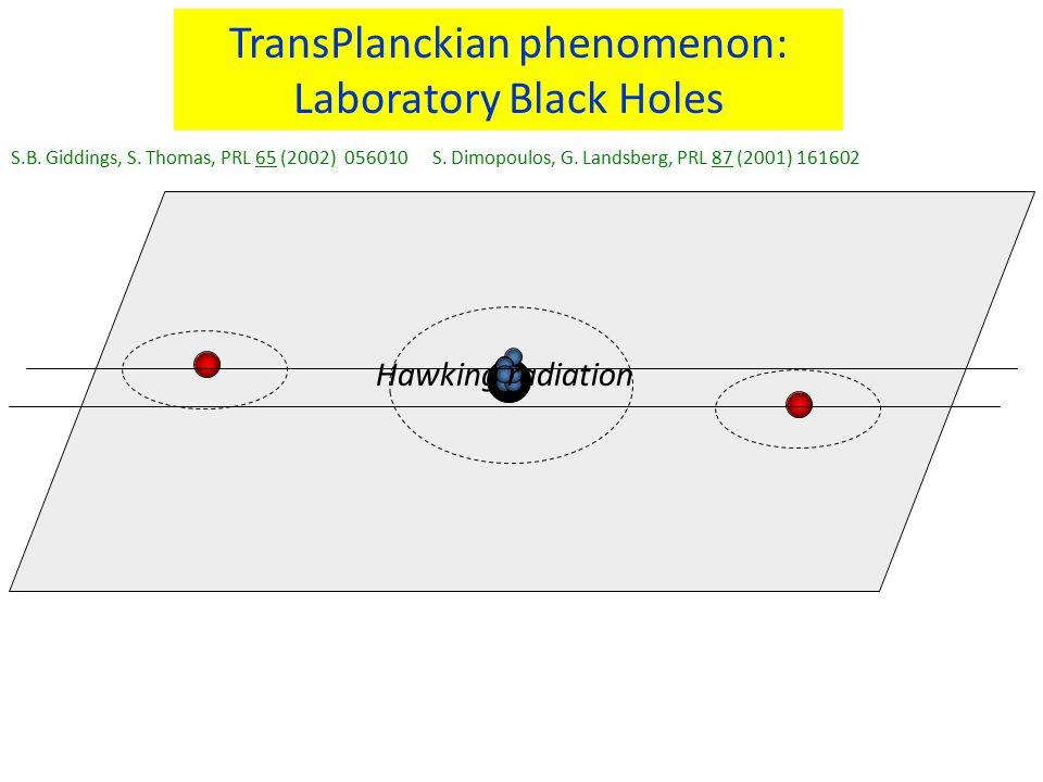 TransPlanckian phenomenon: Laboratory Black Holes S.B. Giddings, S. Thomas, PRL 65 (2002) 056010 S. Dimopoulos, G. Landsberg, PRL 87 (2001) 161602 Haw