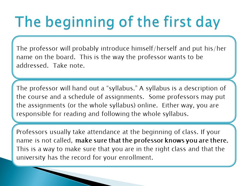 The professor will probably introduce himself/herself and put his/her name on the board.