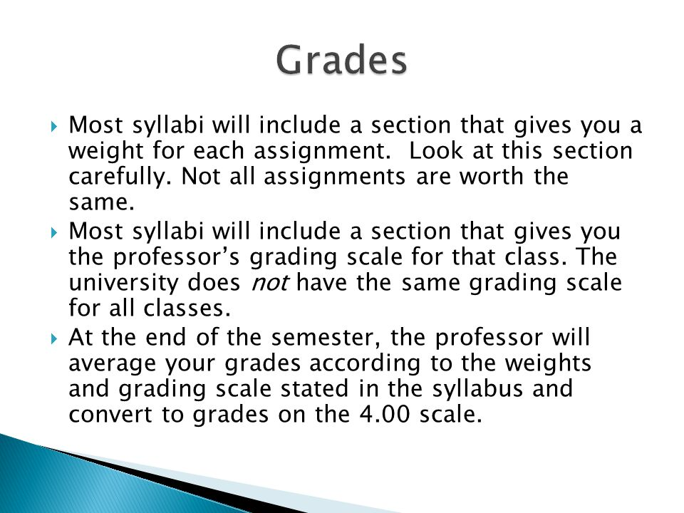  Most syllabi will include a section that gives you a weight for each assignment.