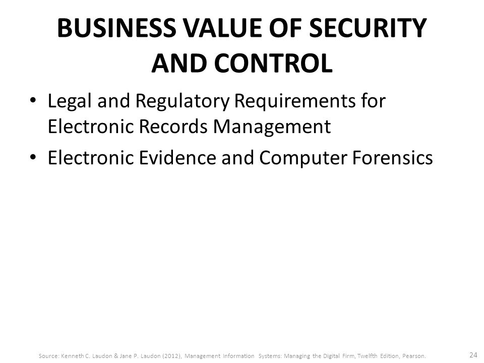 BUSINESS VALUE OF SECURITY AND CONTROL Legal and Regulatory Requirements for Electronic Records Management Electronic Evidence and Computer Forensics