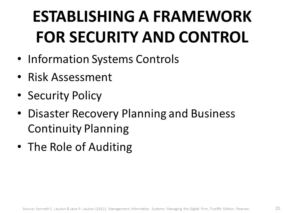 ESTABLISHING A FRAMEWORK FOR SECURITY AND CONTROL Information Systems Controls Risk Assessment Security Policy Disaster Recovery Planning and Business