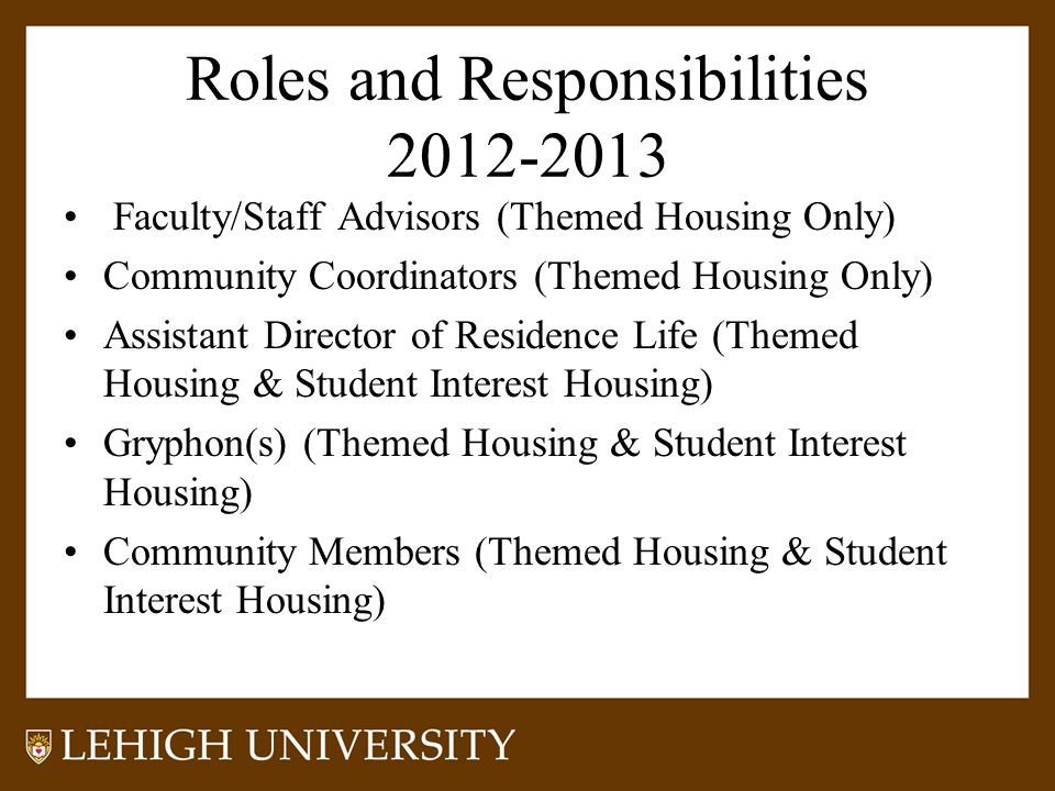 Roles and Responsibilities 2012-2013 Faculty/Staff Advisors (Themed Housing Only) Community Coordinators (Themed Housing Only) Assistant Director of R