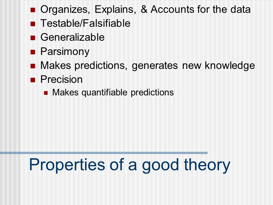 Properties of a good theory Organizes, Explains, & Accounts for the data Testable/Falsifiable Generalizable Parsimony Makes predictions, generates new knowledge Precision Makes quantifiable predictions