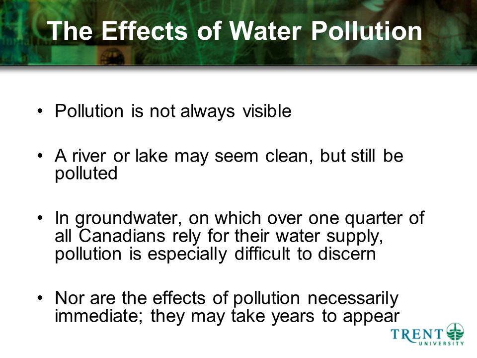 The Effects of Water Pollution Pollution is not always visible A river or lake may seem clean, but still be polluted In groundwater, on which over one quarter of all Canadians rely for their water supply, pollution is especially difficult to discern Nor are the effects of pollution necessarily immediate; they may take years to appear