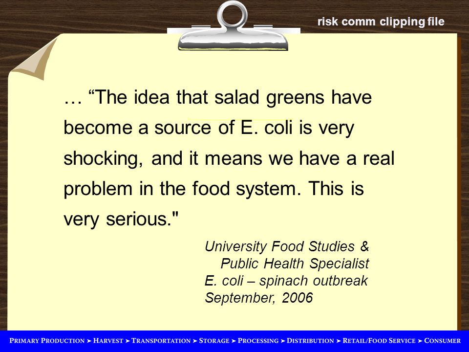 risk comm clipping file University Food Studies & Public Health Specialist E.