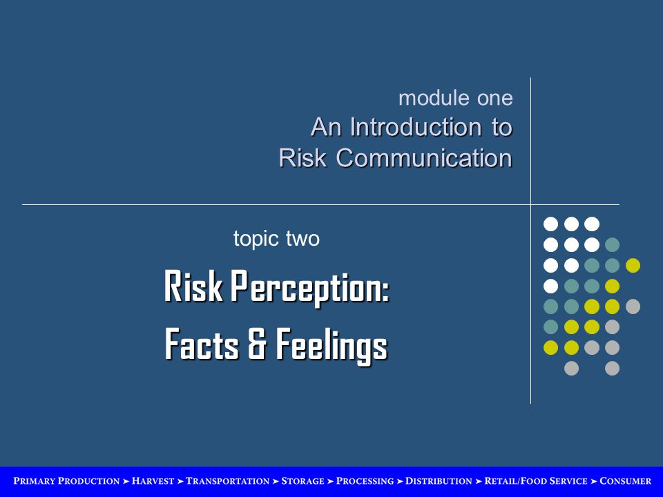 An Introduction to Risk Communication module one An Introduction to Risk Communication topic two Risk Perception: Facts & Feelings