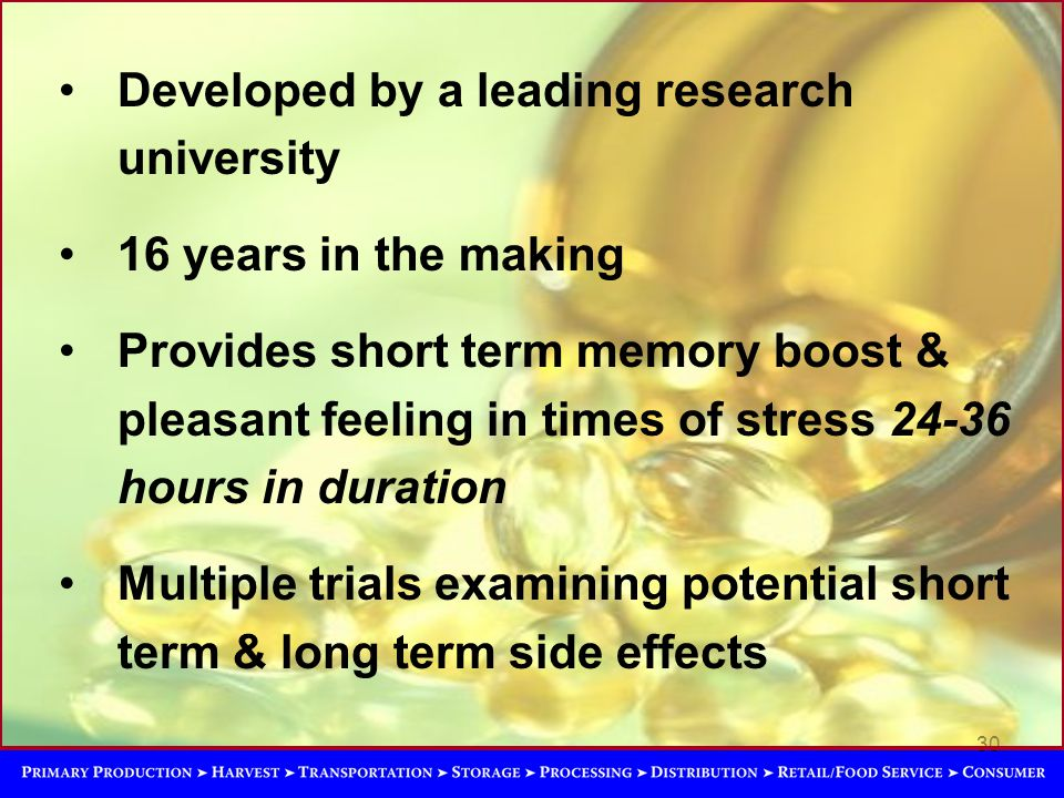 30 Developed by a leading research university 16 years in the making Provides short term memory boost & pleasant feeling in times of stress 24-36 hours in duration Multiple trials examining potential short term & long term side effects