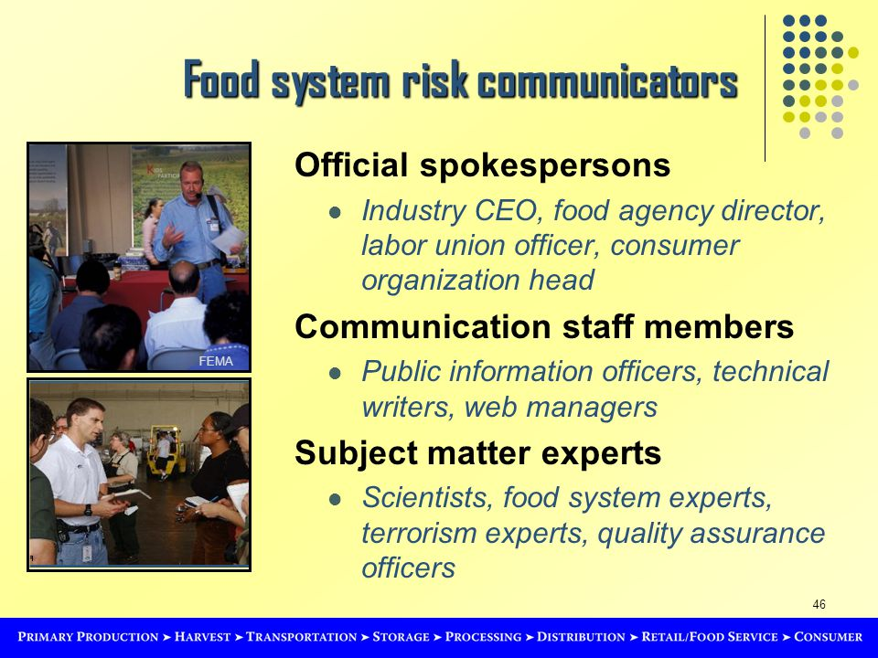 46 Food system risk communicators Official spokespersons Industry CEO, food agency director, labor union officer, consumer organization head Communication staff members Public information officers, technical writers, web managers Subject matter experts Scientists, food system experts, terrorism experts, quality assurance officers FEMA