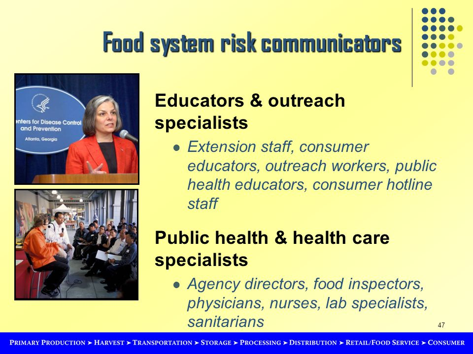 47 Food system risk communicators Educators & outreach specialists Extension staff, consumer educators, outreach workers, public health educators, consumer hotline staff Public health & health care specialists Agency directors, food inspectors, physicians, nurses, lab specialists, sanitarians
