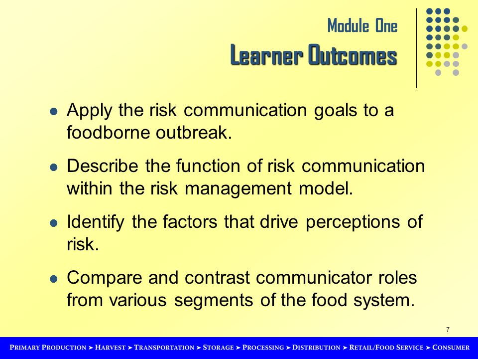 7 Learner Outcomes Module One Learner Outcomes Apply the risk communication goals to a foodborne outbreak.