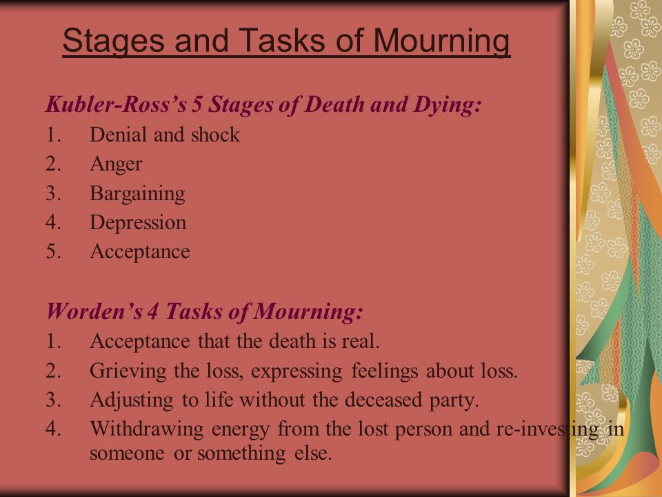 Stages and Tasks of Mourning Kubler-Ross's 5 Stages of Death and Dying: 1.Denial and shock 2.Anger 3.Bargaining 4.Depression 5.Acceptance Worden's 4 T