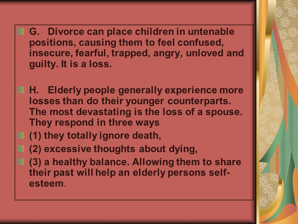 Stages and Tasks of Mourning Kubler-Ross's 5 Stages of Death and Dying: 1.Denial and shock 2.Anger 3.Bargaining 4.Depression 5.Acceptance Worden's 4 Tasks of Mourning: 1.Acceptance that the death is real.